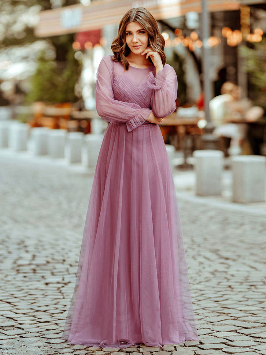 A-woman-in-a-Purple-Orchid-bridesmaid-dress