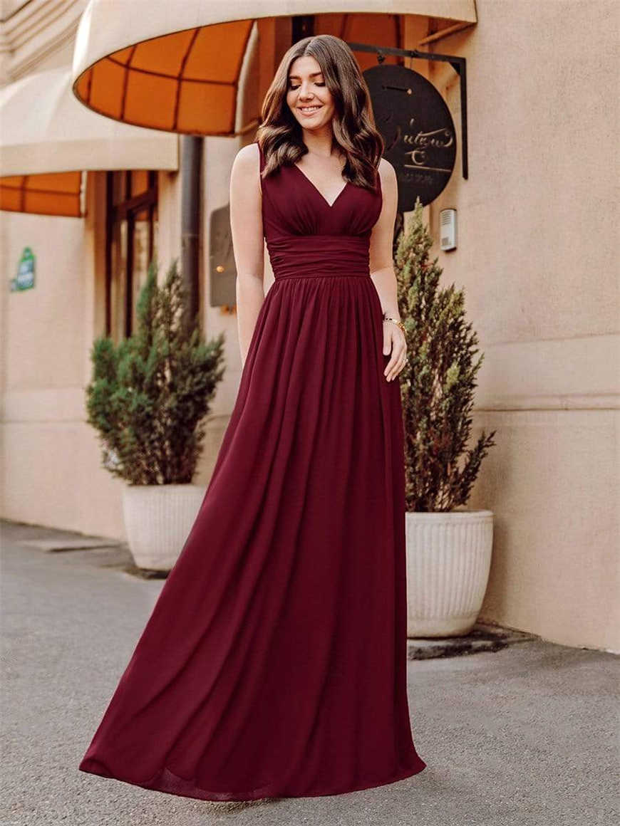 A-woman-in-a-V-neck-Burgundy-dress