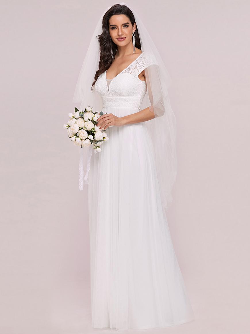 Cap-Sleeve-Lace-V-Neck-Floor-Length-A-line-Wedding-Dress