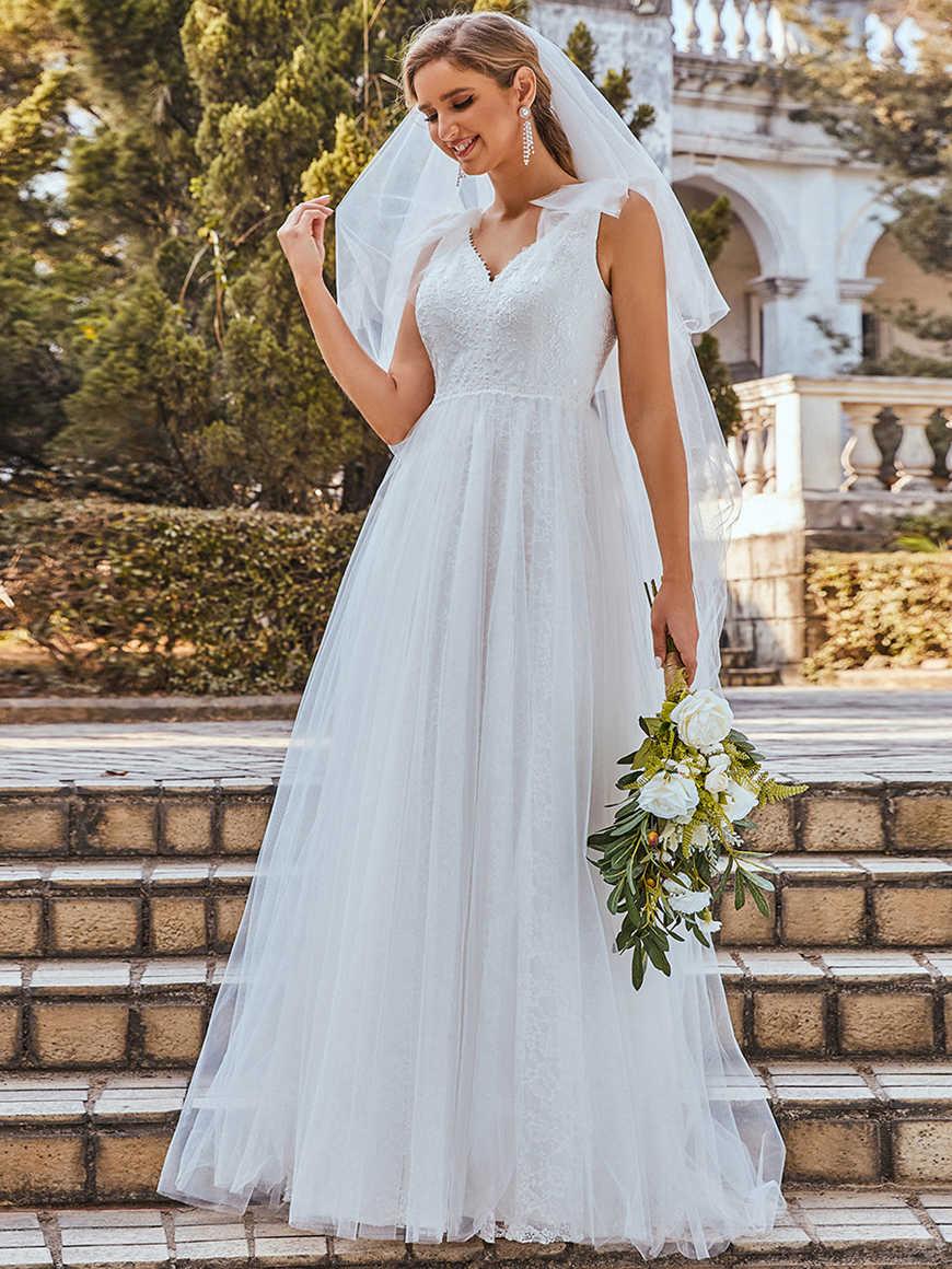 Double-V-Neck-Sleeveless-Wedding-Dress