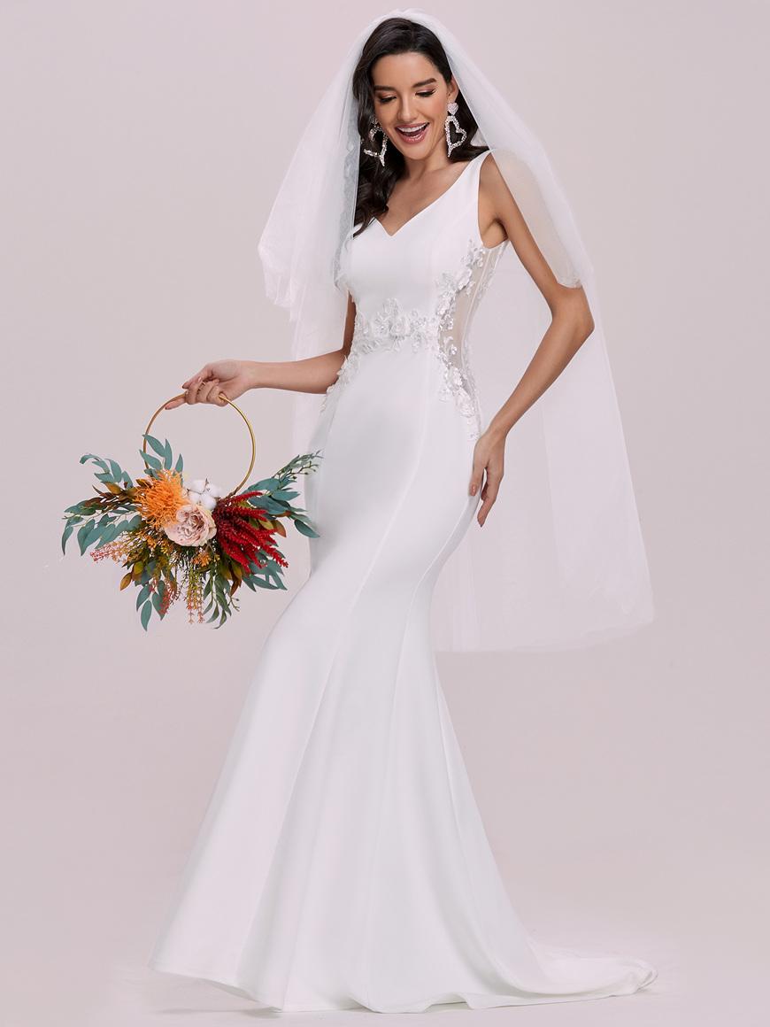 Double-V-neck-Applique-Bodice-Long-Casual-Wedding-Dress