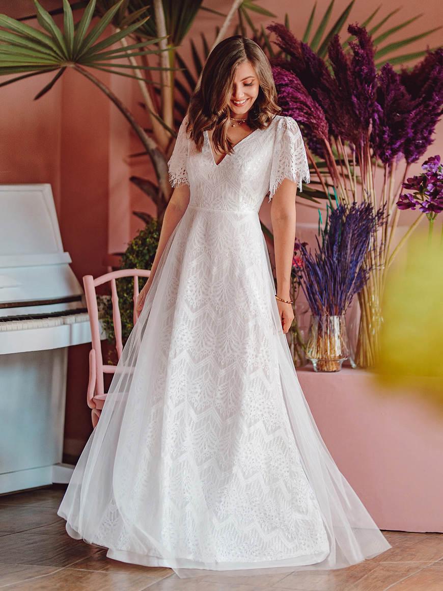 Elegant-Simple-Deep-V-Neck-A-Line-Lace-Wedding-Dress