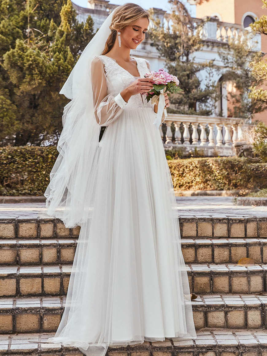 Exquisite-Applique-Bodice-Sheer-Long-Sleeves-Casual-Wedding-Dress