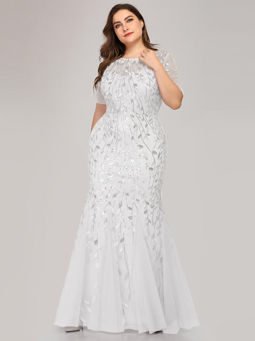 Floral-Sequin-Print-Maxi-Long-Plus-Size-Mermaid-Tulle-Wedding-Dress