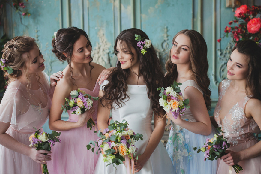 Four-beautiful-bridesmaids-and-a-bride