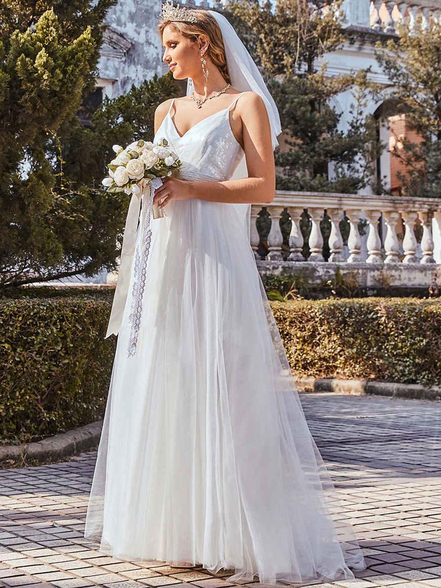 Gorgeous-Paillette-Bodice-Spaghetti-Strap-Casual-Maxi-Wedding-Dress