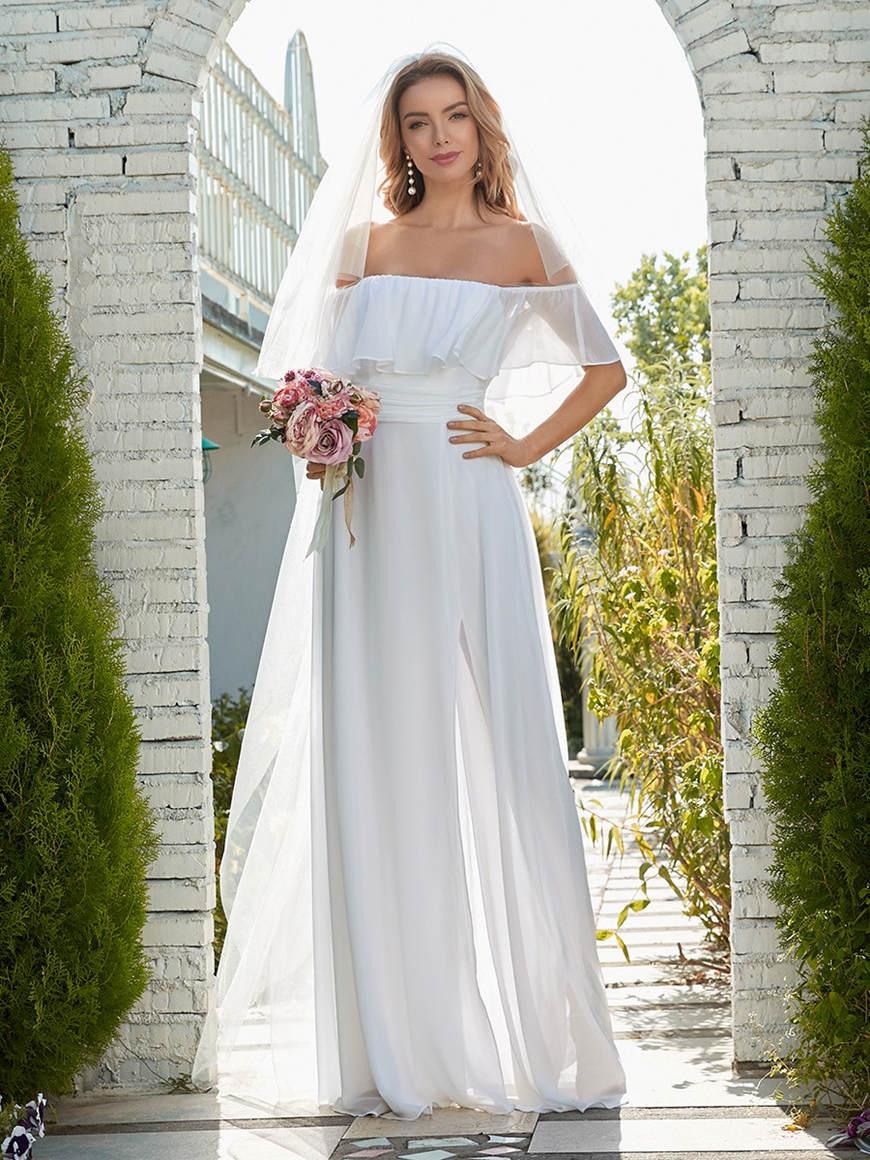 Informal-Off-Shoulder-Eloping-Wedding-Dress