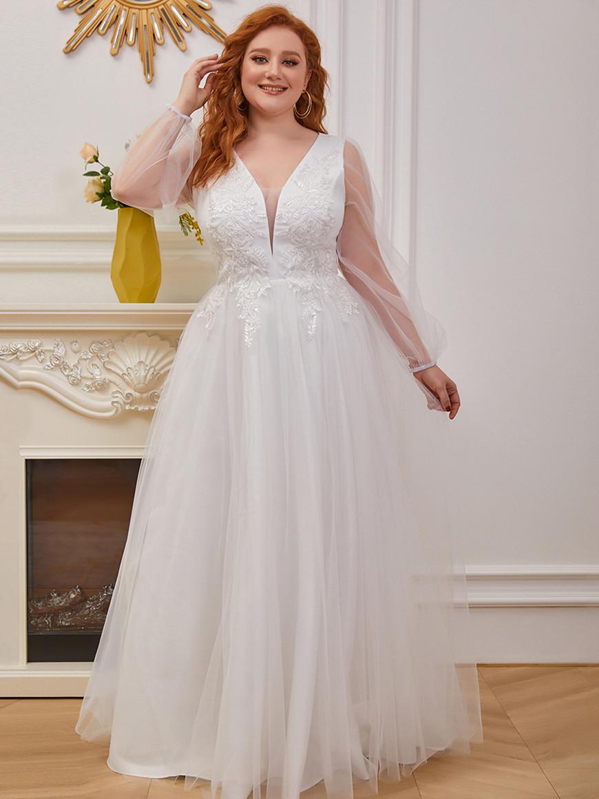 Lantern-Sleeves-Beaded-Applique-Casual-Wedding-Dress
