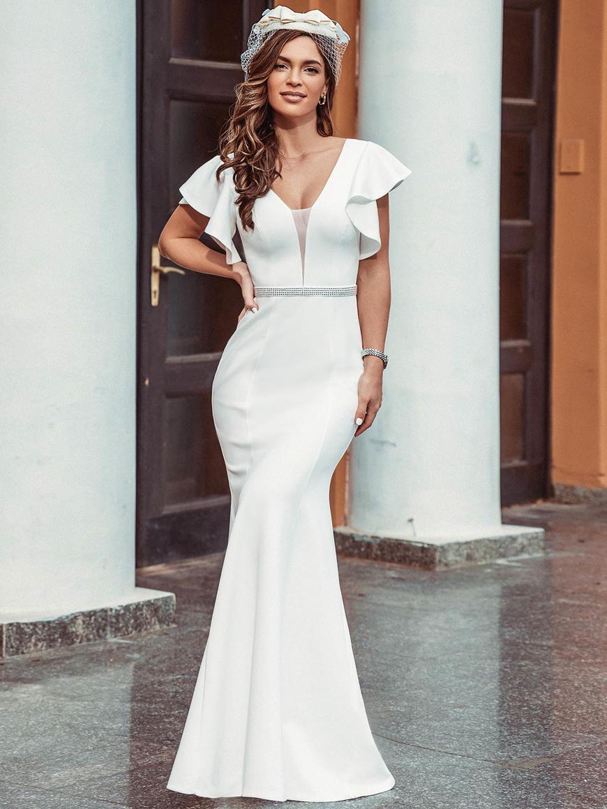 Plain-Maxi-Fishtail-Elopement-Wedding-Dress-with-Ruffle-Sleeves