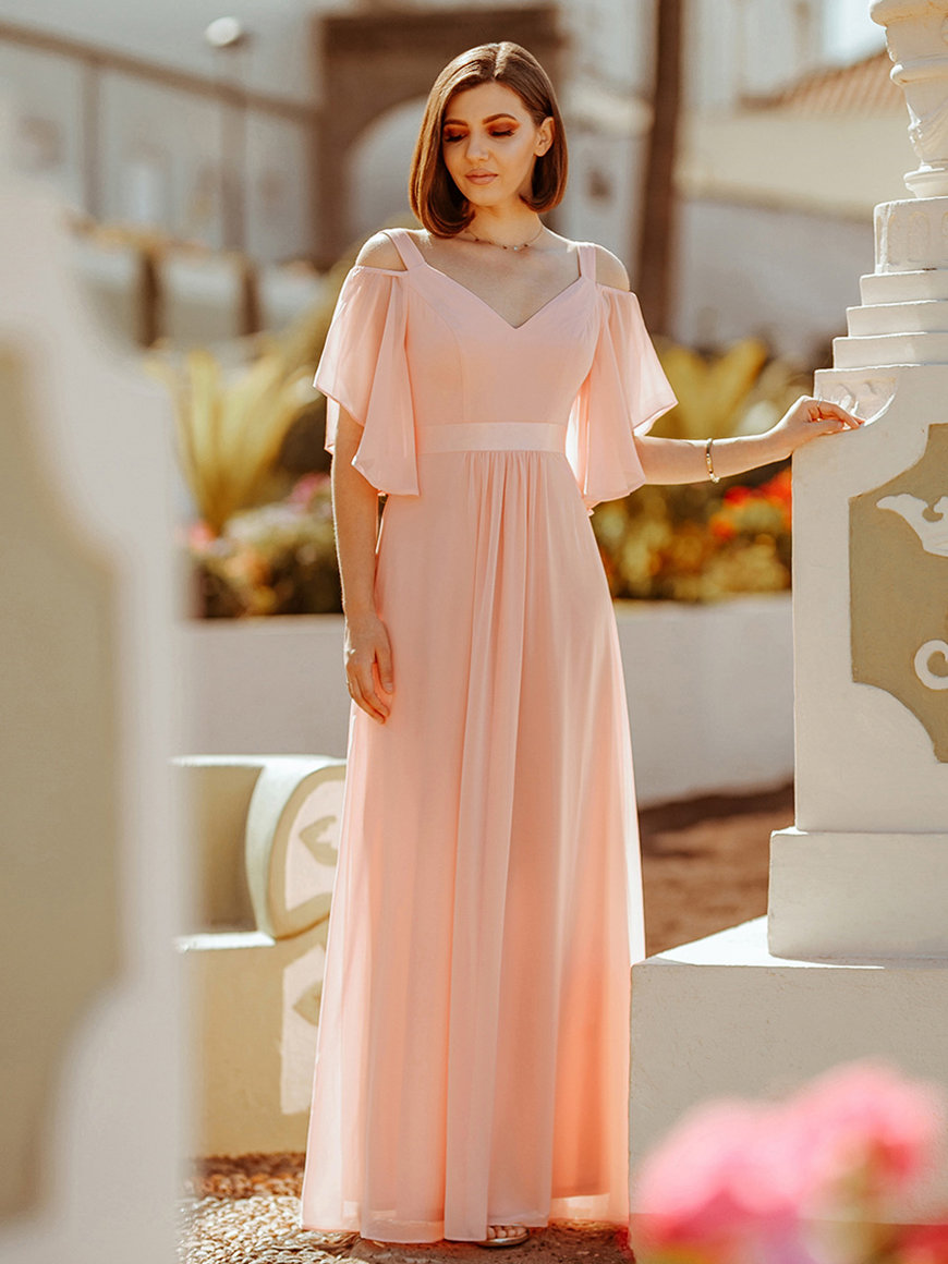 Romantic-Off-Shoulder-Bridesmaid-Dress