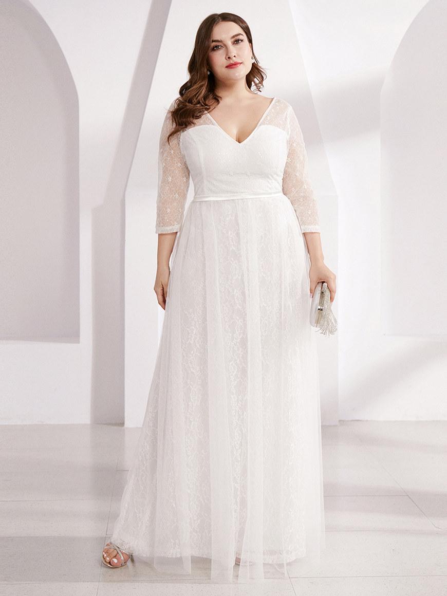 Romantic-See-through-¾-Sleeve-Wedding-Dress
