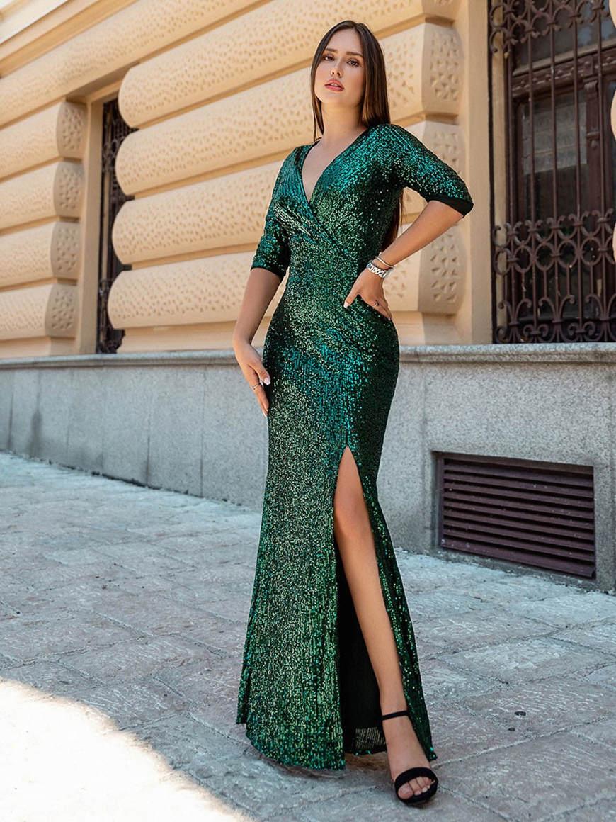 Shiny-V-Neck-Sequin-Spring-Formal-Dress