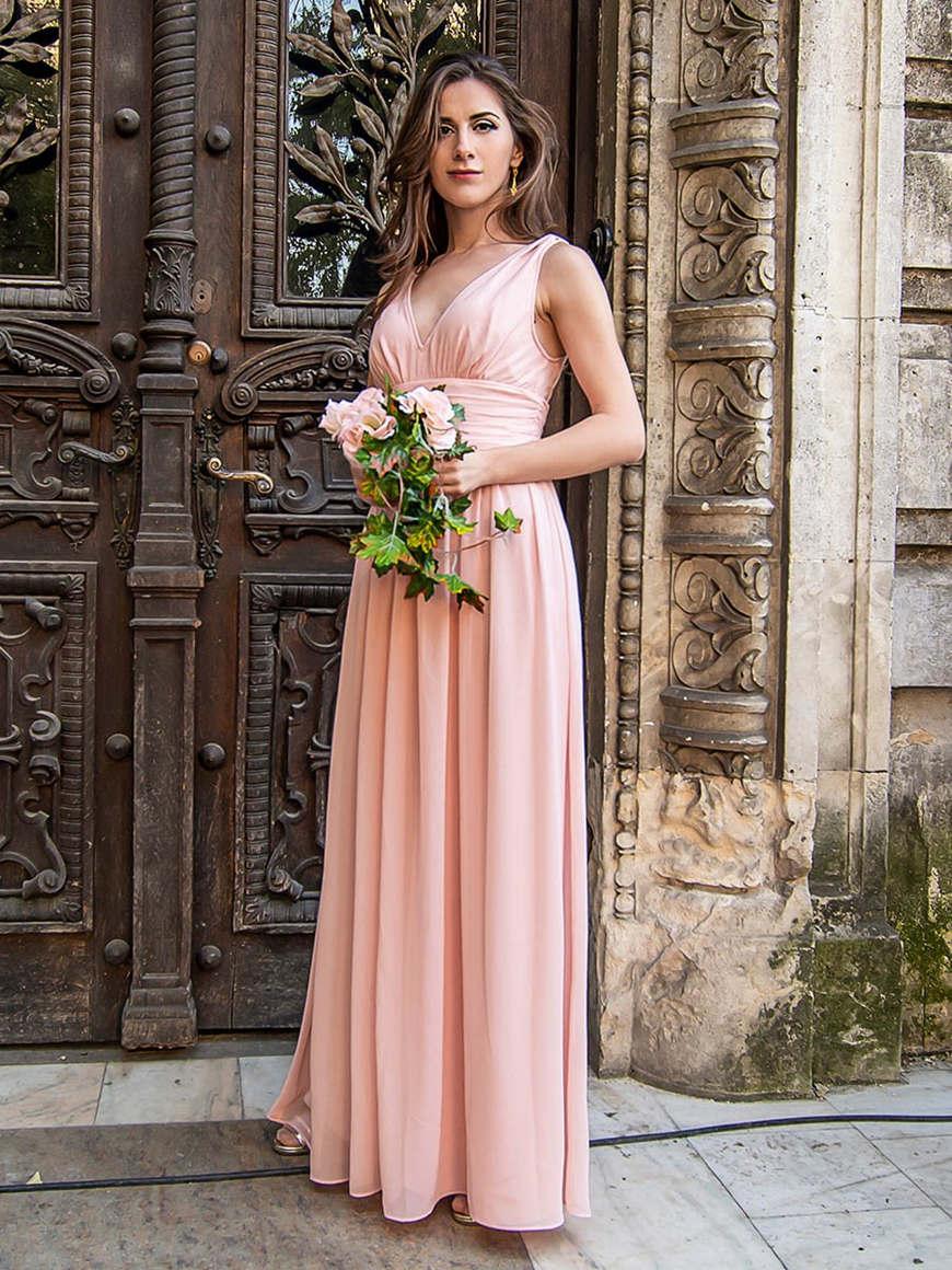minimalistic-chiffon-bridesmaid-dress