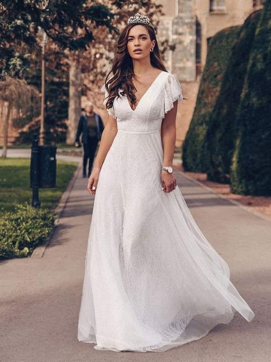 Elegant-Maxi-Lace-Wedding-Dress-with-Ruffle-sleeves