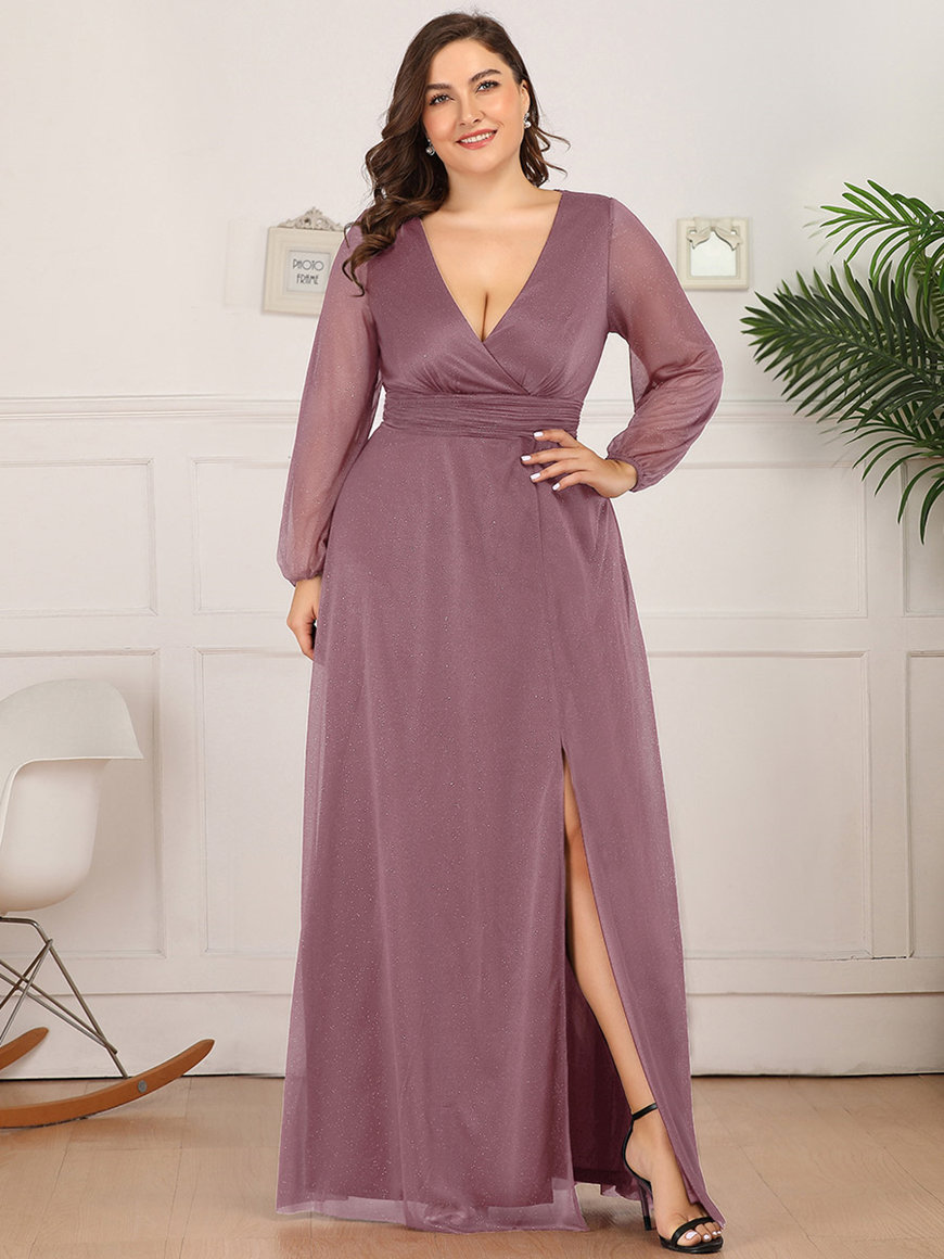Elegant-V-neck-Mid-Thigh-Slit-Dress
