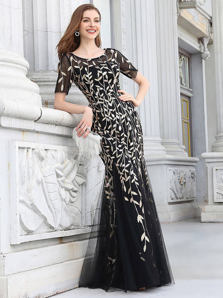 Impressive-Fishtail-Wedding-Guest-Dress-with-Half-Sleeves