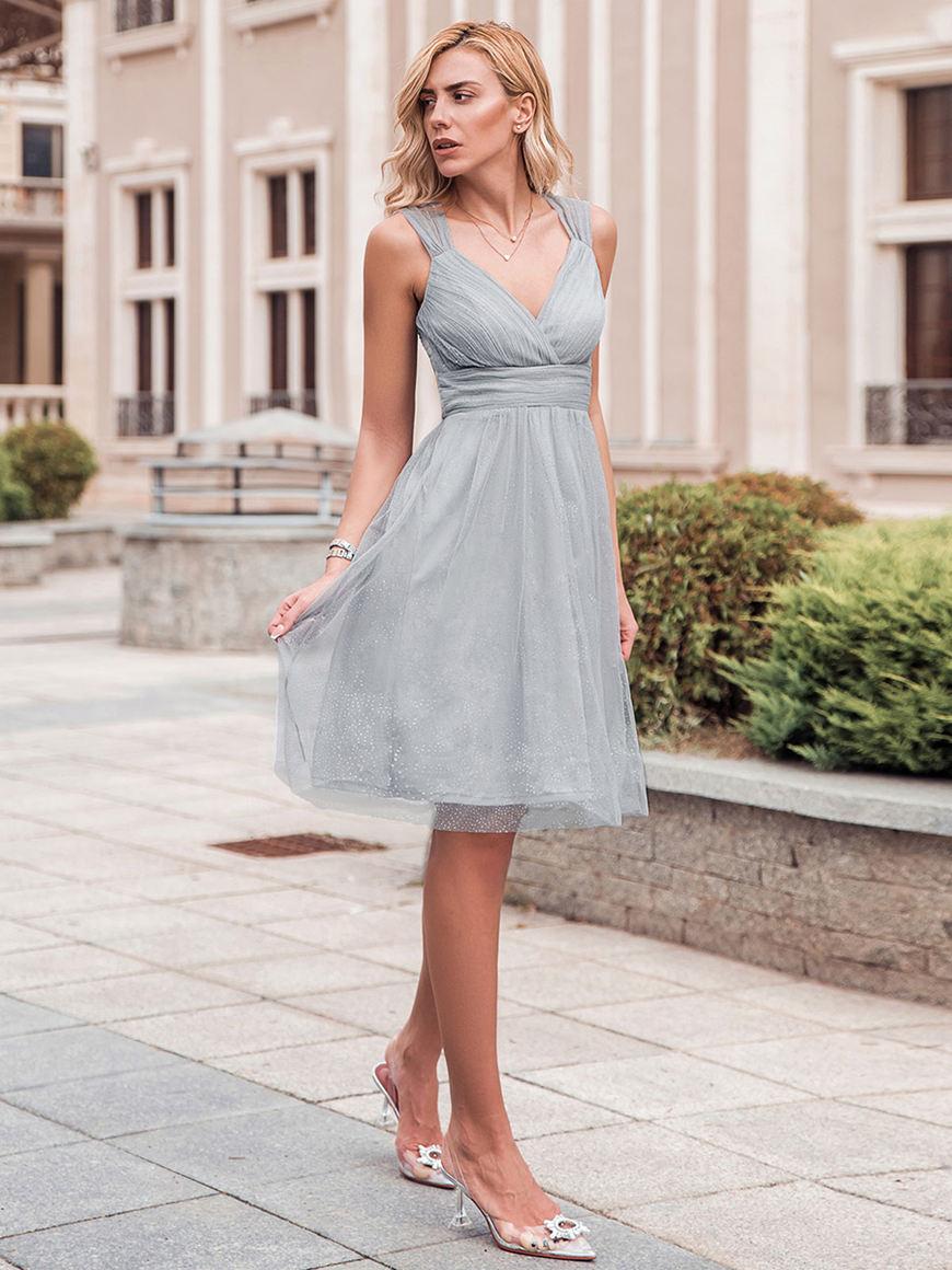 Light-gray-bridesmaid-dress
