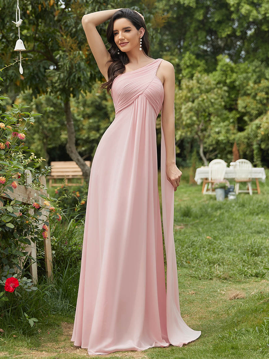 Pleated-One-Shoulder-Wedding-Guest-Dress