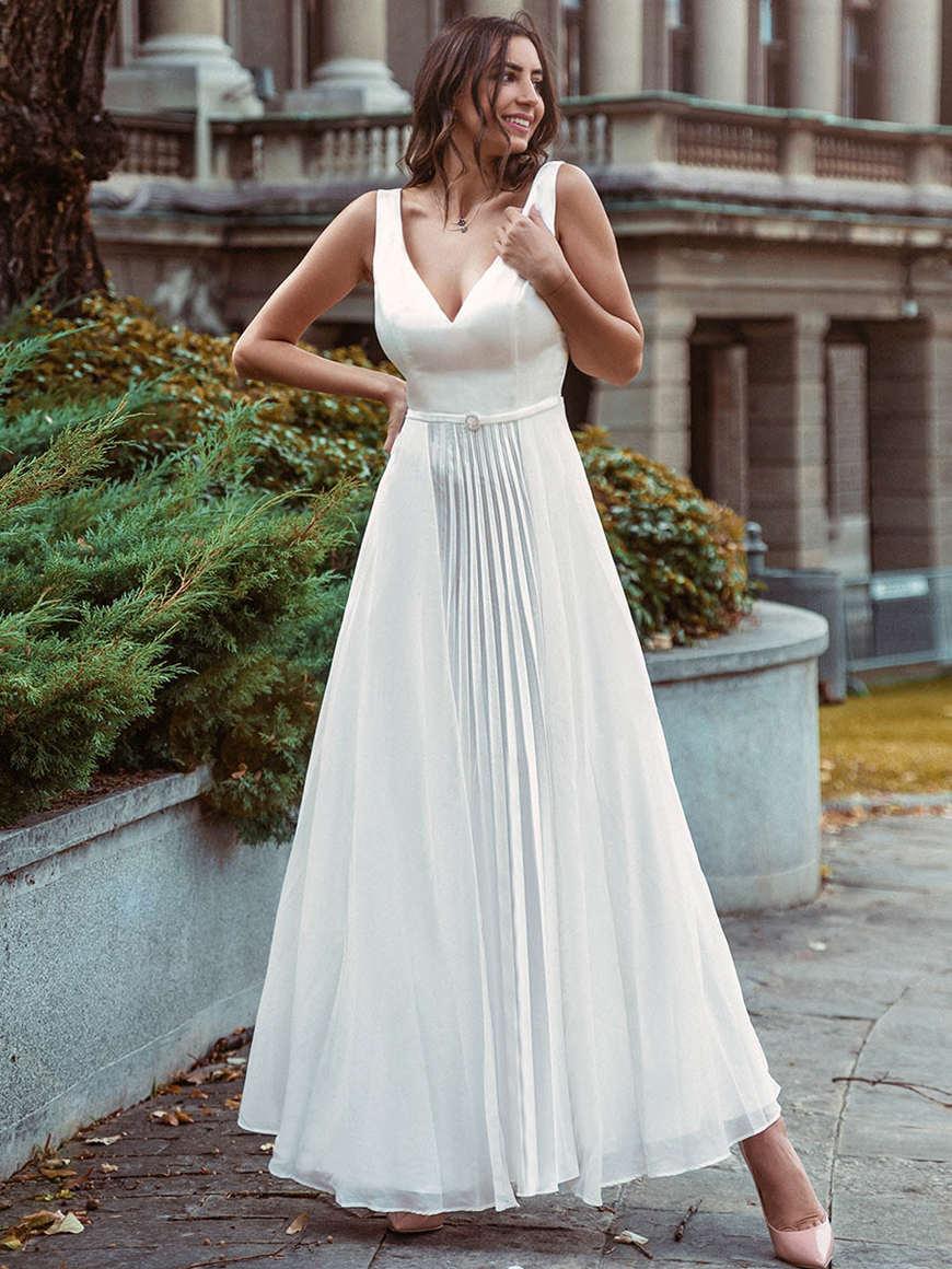 Romantic-A-line-midi-beach-wedding-dress-with-short-sleeves
