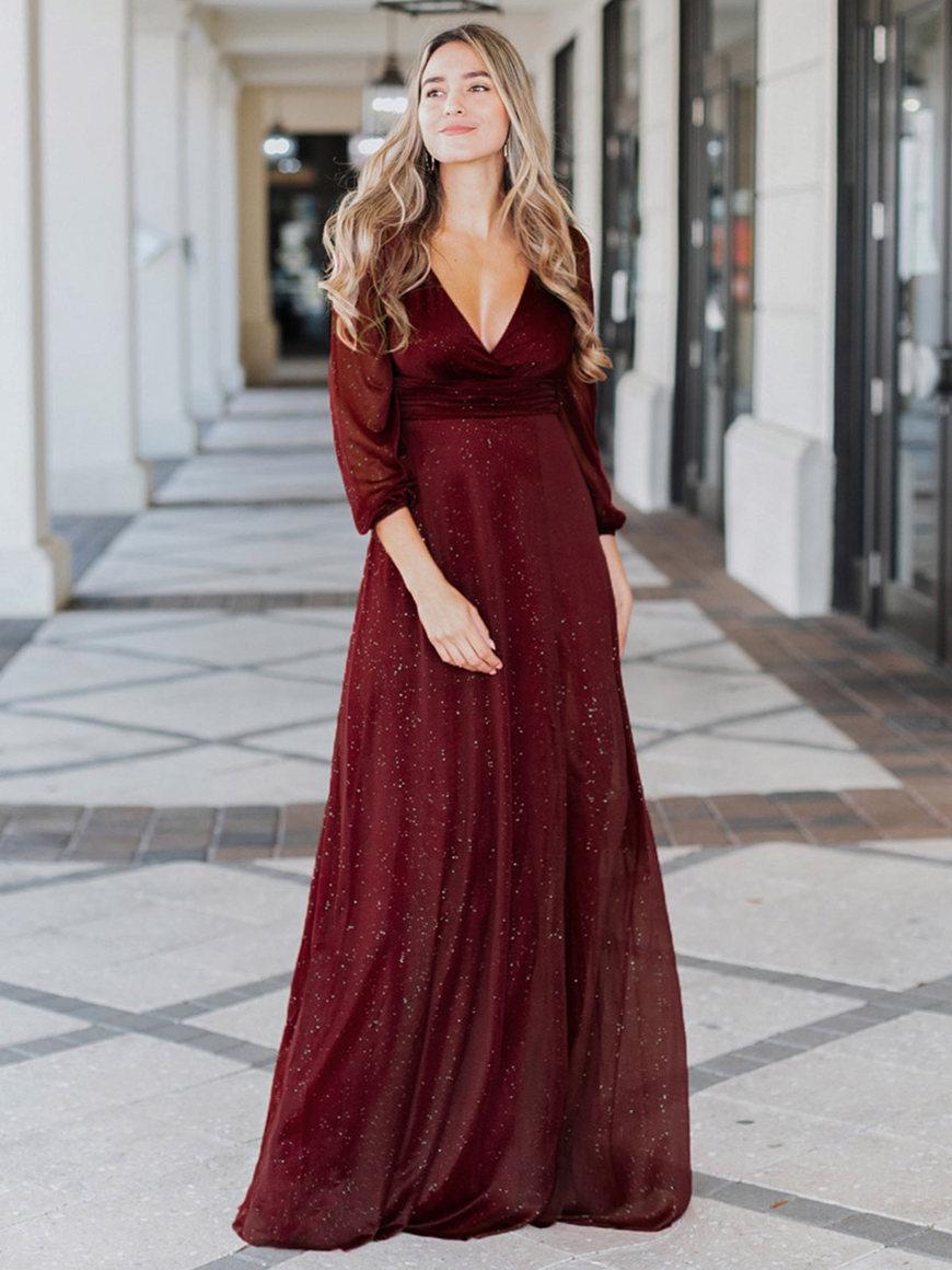 Sexy-V-Neckline-Evening-Dress