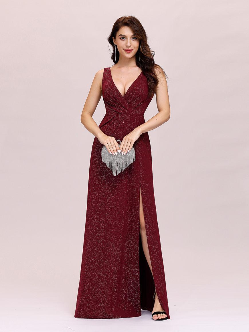 Stunning-V-Neckline-Evening-Dress