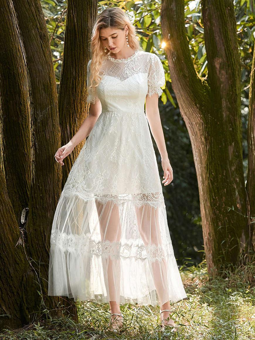 Subtle V-neck sleeveless beach-Wedding-dress-with-Pleated-design