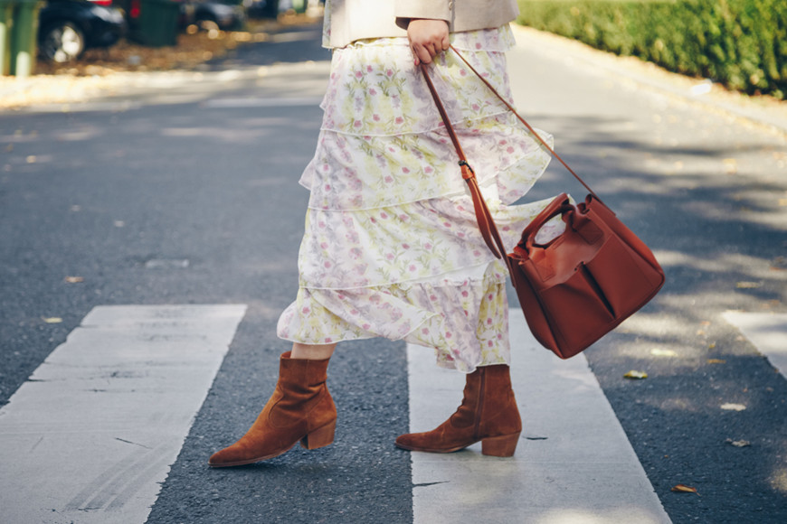 Floral-dress-with-tall-ankle-boots