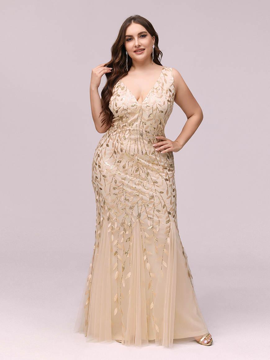 Romantic-Double-V-Neck-Plus-Size-Dress
