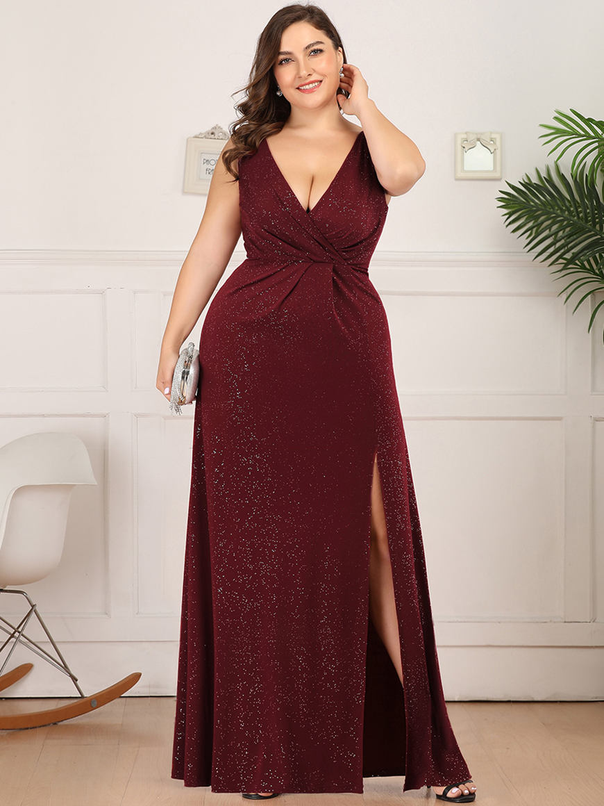 Splendid-Shiny-V-Neck-Plus-Size-Dress