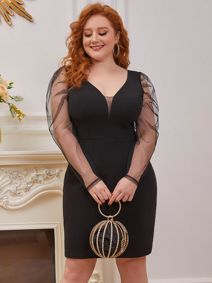 Vintage-See-Through-Plus-Size-Dress-with-Puff-Sleeves