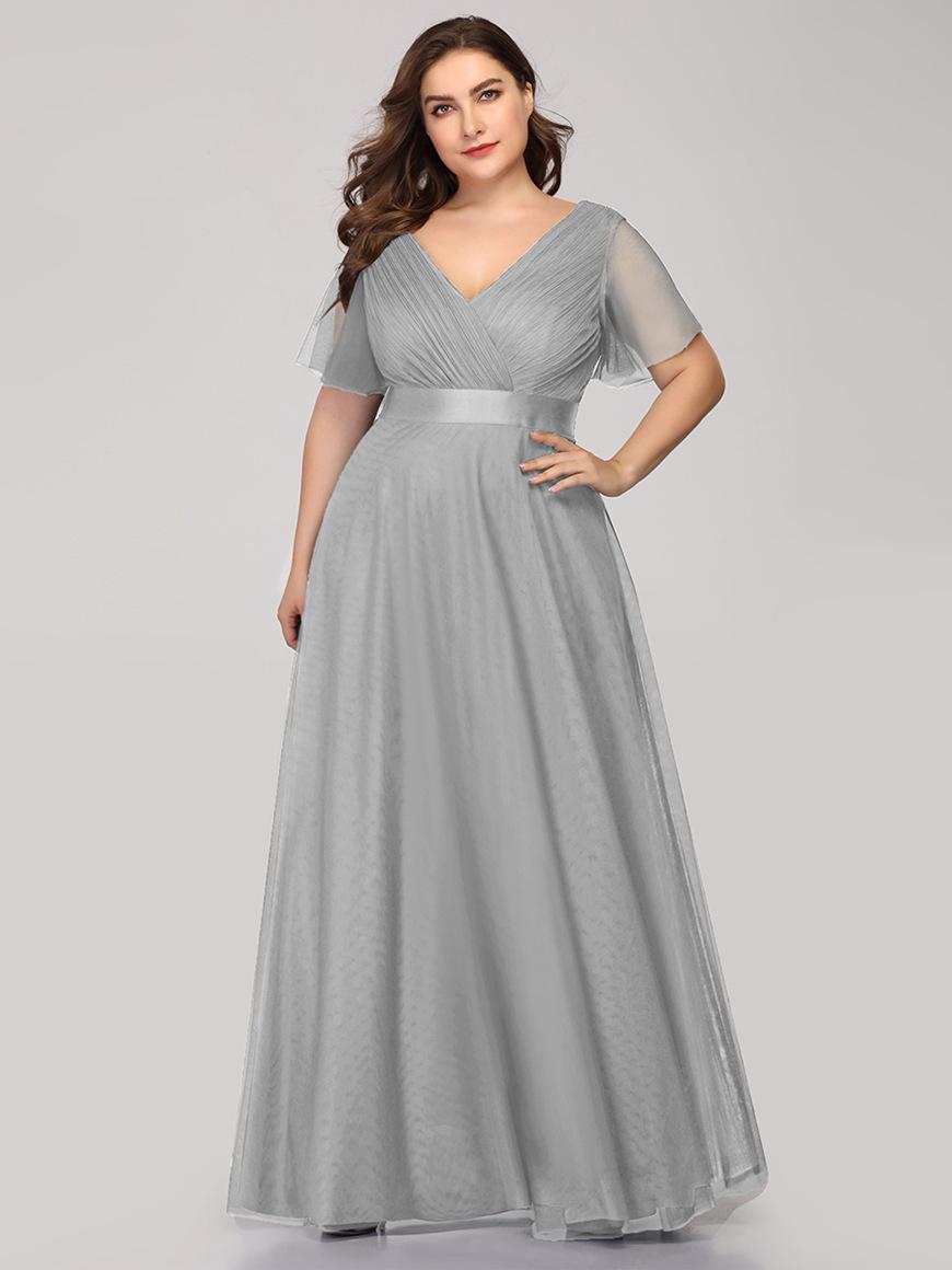 Beautiful-V-Neckline-Dress-with-Flutter-Sleeves