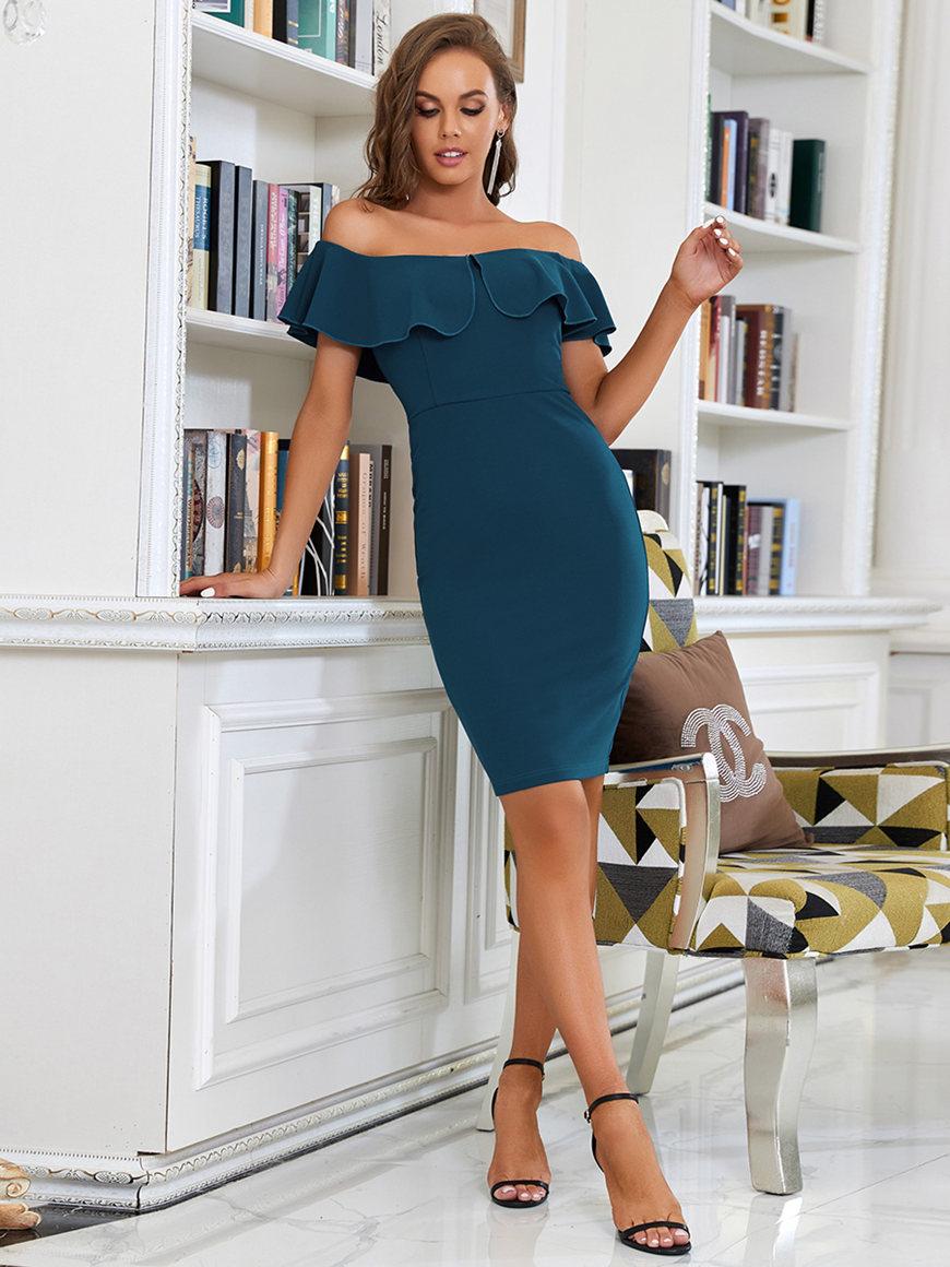 Elegant-Teal-Summer-Party-Dress