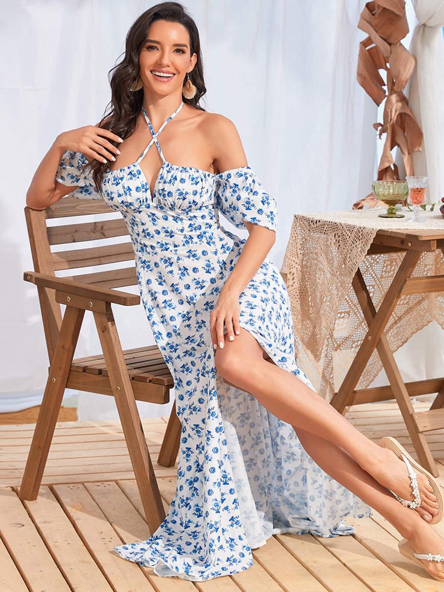 Floral-maxi-off-the-shoulder-dress