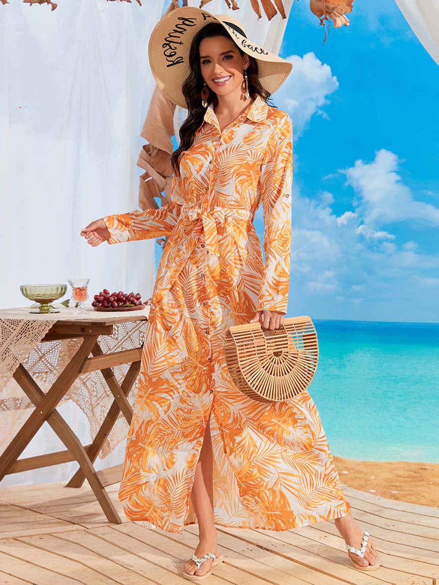 Flower-print-long-sleeved-vacation-dress