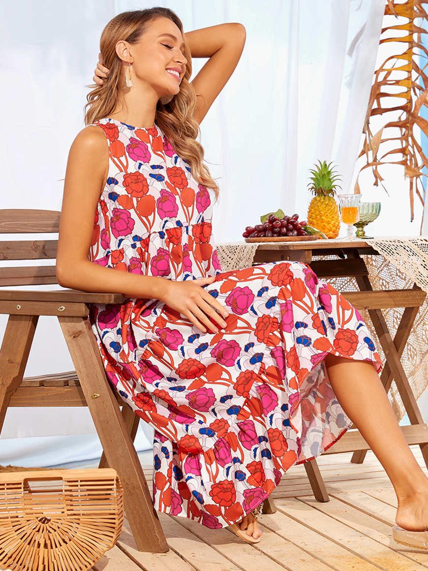 Flowered-midi-tiered-dress