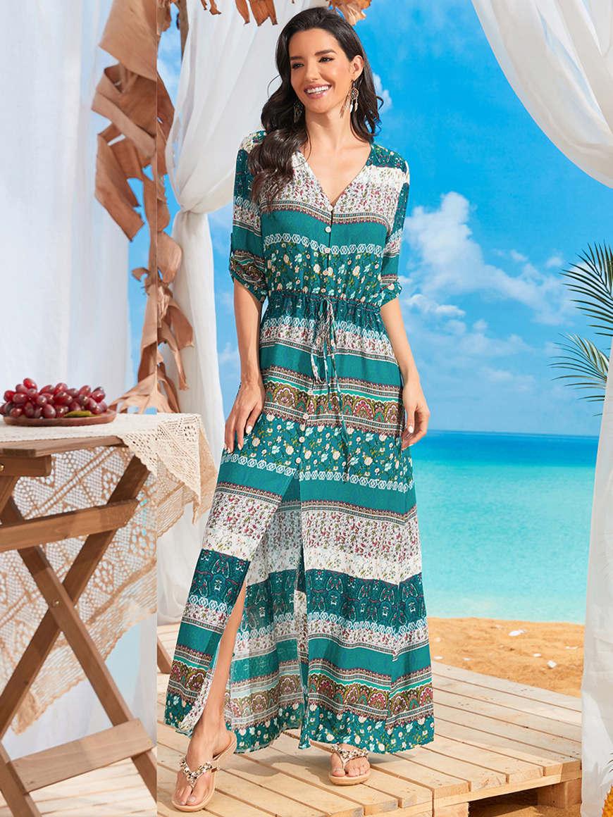 Flowery-V-neck-vacation-dress