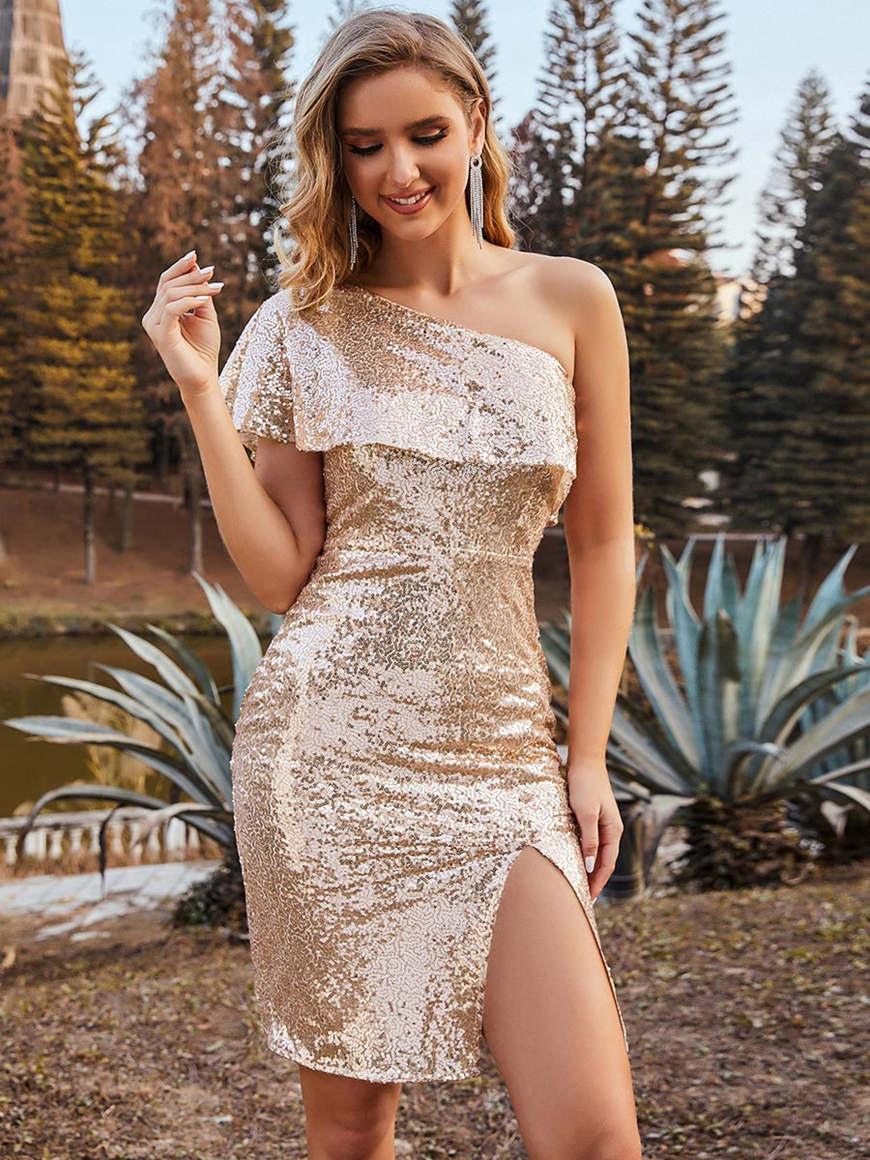 Stylish-One-Shoulder-Short-Sequin-Evening-Dress-with-Side-Slit
