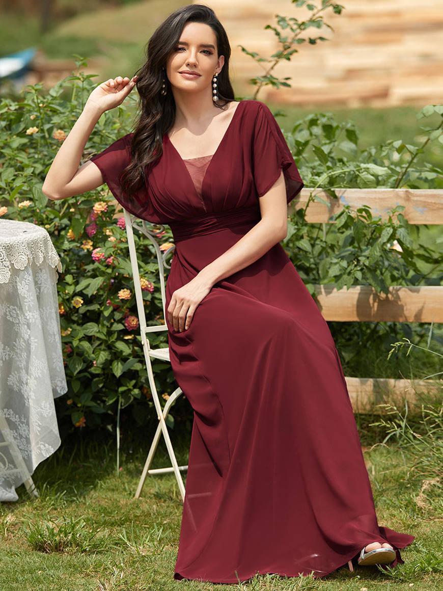 Burgundy-Chiffon-Bridesmaid-Dress