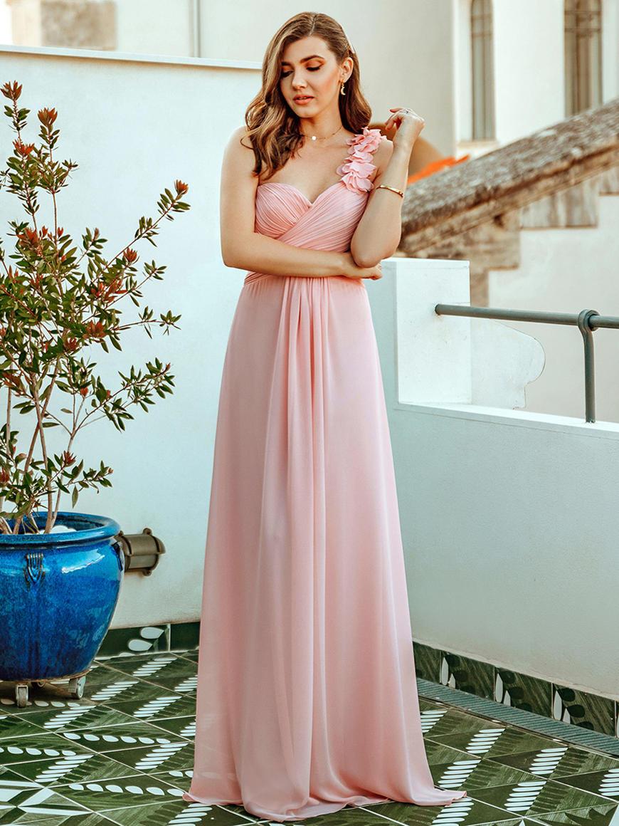 One-Shoulder-Bridesmaid-Dress-With-Flower-Applique