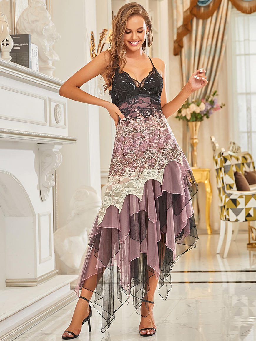 Backless-Sparkly-Dress-with-Irregular-Hem