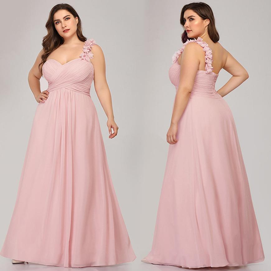 Beautiful-One-Shoulder-Plus-Size-Bridesmaid-Dress