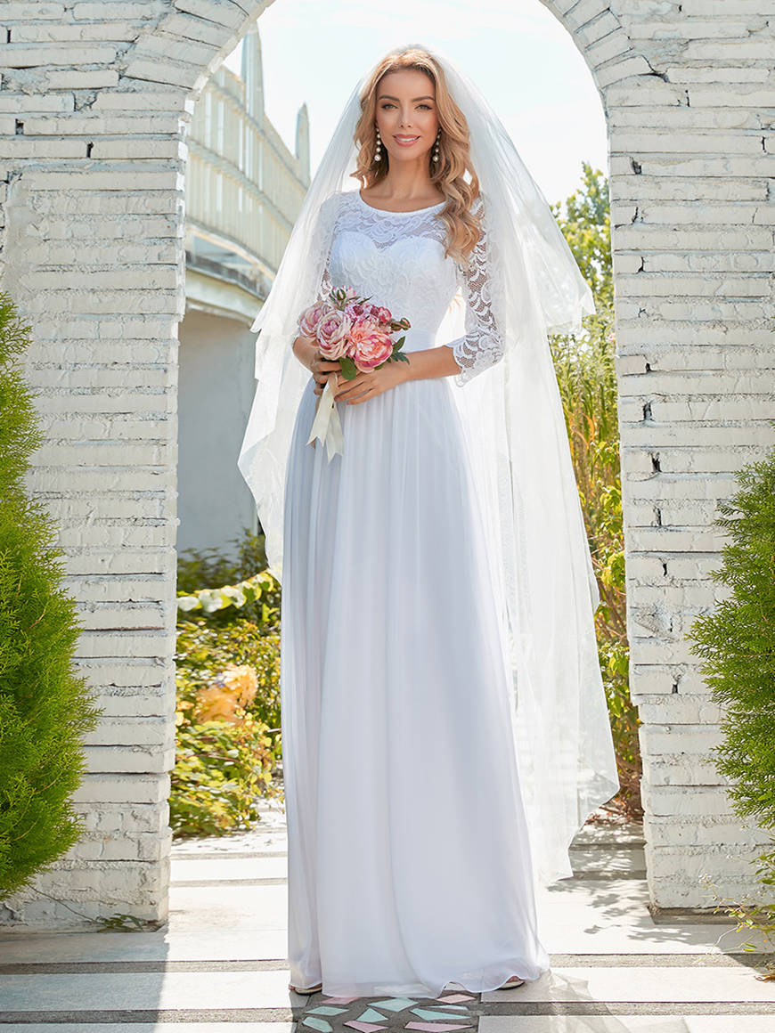 Casual-Lace-Chiffon-Wedding-Dress-for-Eloping