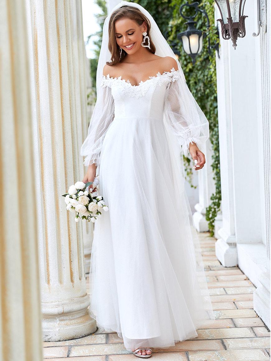 Cold-Shoulder-Lantern-Sleeve-Wedding-Dress