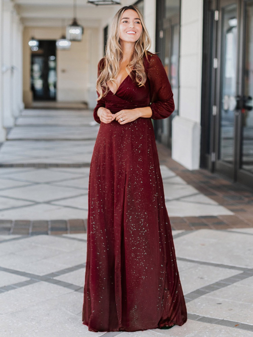 Long-Sleeve-V-Neck-Evening-Dress