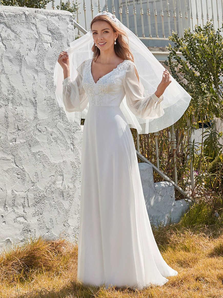 Long-Sleeves-Appliqued-Eloping-Wedding-Dress