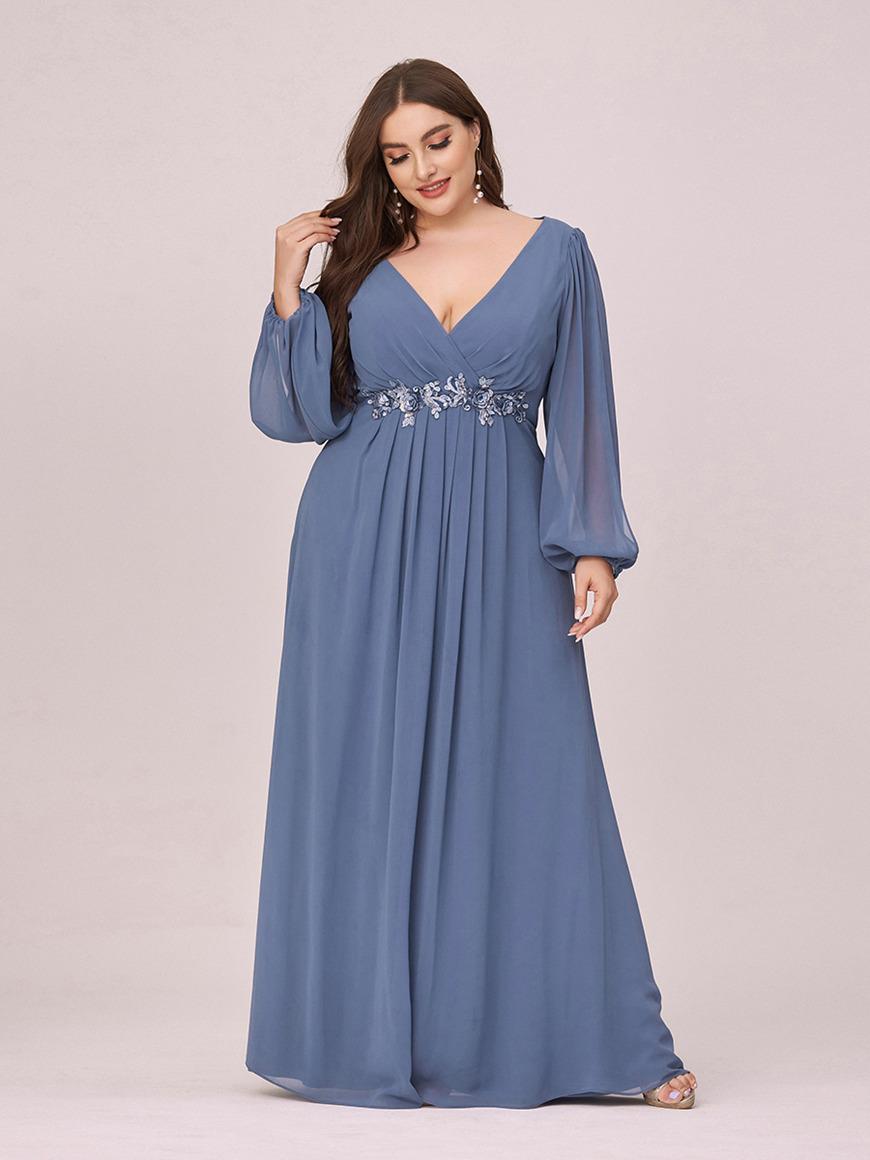 Romantic-Long-Sleeve-Chiffon-Plus-Size-Bridesmaid-Dress