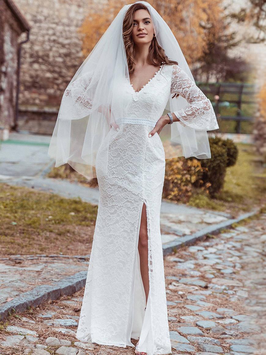 Sexy-Plunging-Neckline-Mermaid-Wedding-Dress-with-High-Split