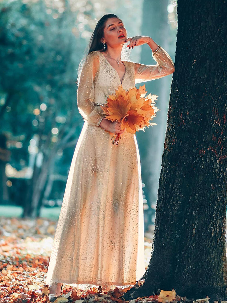 Shimmery-Long-Lantern-Sleeves-Bridesmaid-Dress