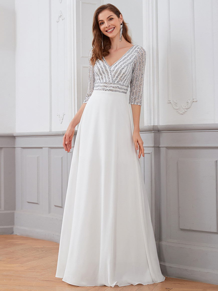 shiny-sequin-bodice-long-flowy-white-wedding-dress-with-sleeves
