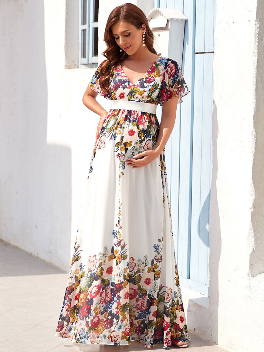 Boho Chic-Floral-Floor-Length-Maternity-Dress-with-short-sleeves